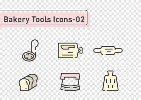bakery tool flat line icon set isolated on transparency background ep02  イラスト・ベクター素材