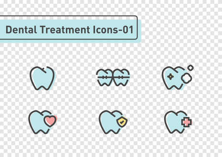 Dental treatment flat line icon set isolated on transparency background ep01