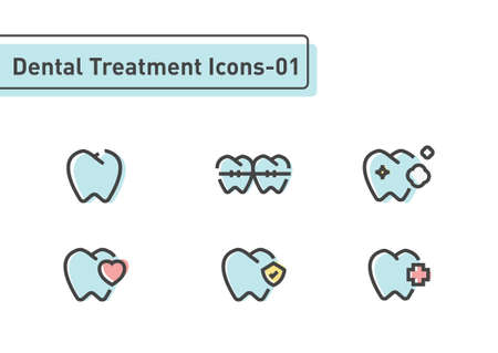 Dental treatment flat line icon set isolated on white background ep01