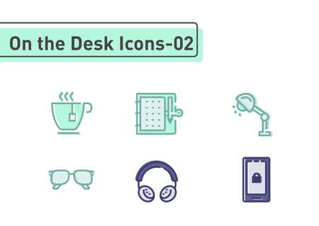 On the desk flat line icon set isolated on white background ep02