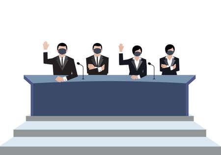 Senate wear black medical masks vote in conference room on white background, covid19 coronavirus era vectors ep02