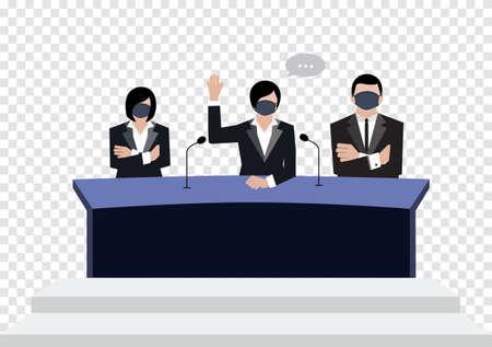 Senate wear black medical masks vote in conference room on transparency background, covid19 coronavirus era vectors