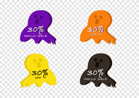 halloween banner vector isolated on transparency background ep05  イラスト・ベクター素材