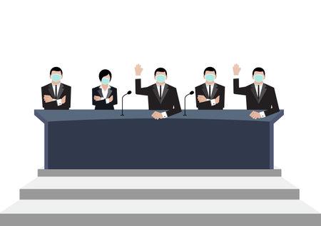 Senate wear green medical masks vote in conference room on white background.  イラスト・ベクター素材