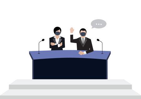 Senate wear black medical masks vote in conference room on white background, covid19 corona virus era vectors ep03. 写真素材