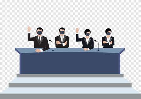 Senate wear black medical masks vote in conference room on transparency background, covid19 coronavirus era vectors ep02