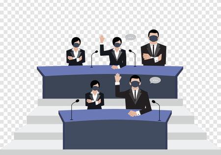 Senate wear black medical masks vote in conference room on transparency background.