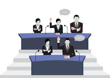Senate wear green medical masks vote in conference room on white background  イラスト・ベクター素材