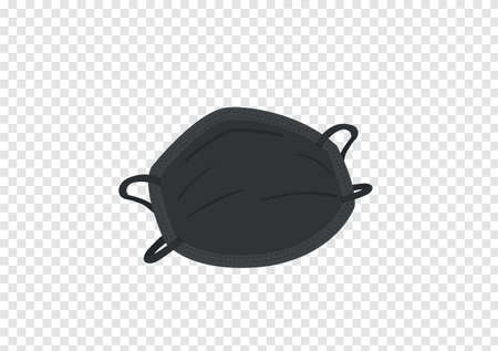 black face mask vector isolated on transparency background ep43  イラスト・ベクター素材