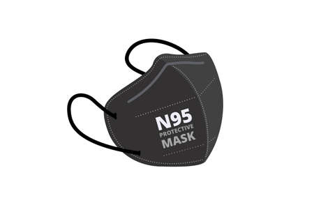 black n95 mask vector isolated on white background ep42