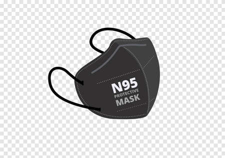 black n95 mask vector isolated on transparency background  イラスト・ベクター素材