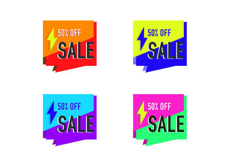 the element design of colorful sale banner geometric shape vector isolated on white background ep03  イラスト・ベクター素材