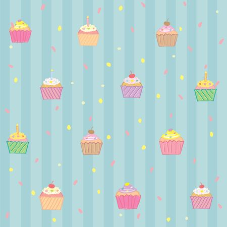 topping: Cupcake pattern stripe background with various topping Illustration