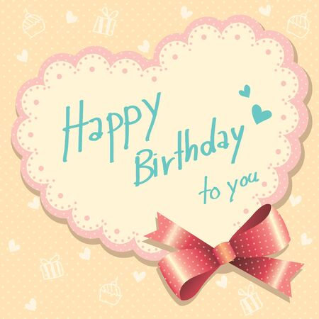 gift ribbon: Hand-written happy birthday card with red ribbon Illustration
