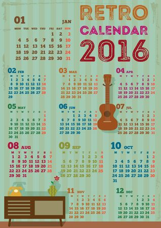 coffee table: Vector of calendar for 2016 years.The old wall decoration with coffee table and ukulele on retro style.