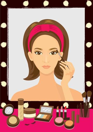 shaping: Vector beauty woman.She is makeup her face on the lighting mirror with many cosmetics.