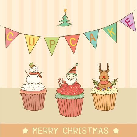 chocolate cupcake: Vector drawing cupcakes on christmas party theme.Santa claus cupcake.Snowman cupcake.Reindeer cupcake.Pastel color tone.