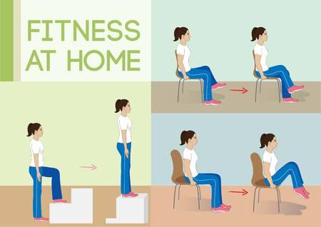sentarse: Ilustración vectorial Mujer exercise.Fitness en casa.