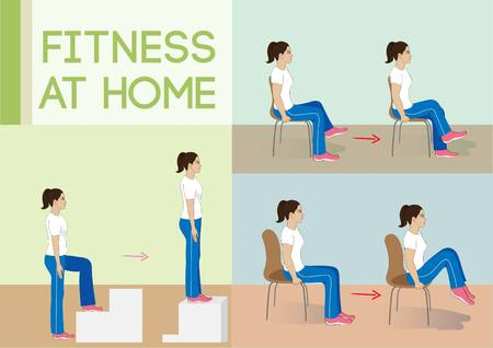 Vector illustration woman exercise.Fitness at home. 矢量图像
