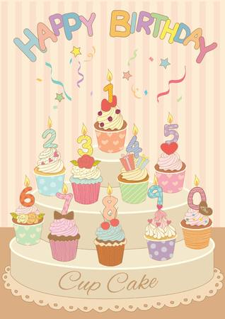 number candles: Vector drawing cupcakes with number candles in the birthday party.Decoration with spread ribbon and happy birthday copy.Pastel color theme. Illustration
