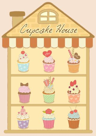 fancy pastry: Vector drawing cupcakes in the cupcake house.Dessert so sweet and them decoration in the cute bakery shop. Illustration
