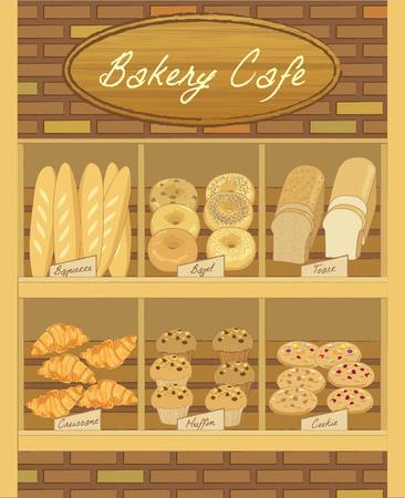 food shop: Vector display the bakery products on wood shelf.Bricks are decoration the wall in shop.
