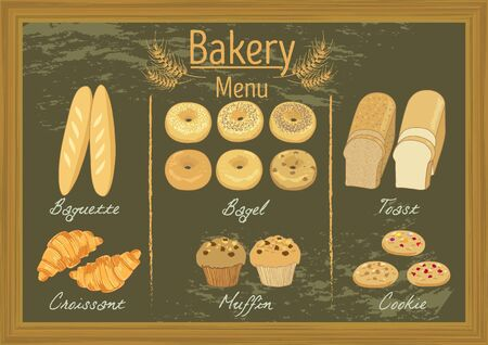 raisin: Vector bakery  products on blackboard menu template for cafe or coffee  shop.
