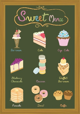 Vector dessert products on blackboard menu template for cafesweet shop.