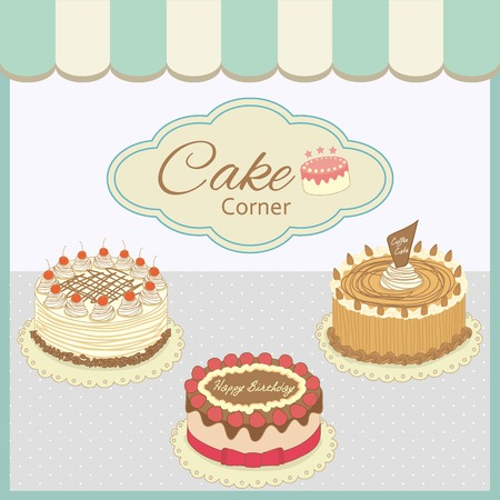 shop show window: Vector drawing bakery cafe.The cakes show on shop window and decorate with awning.Vintage theme and pastel color tone. Illustration