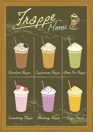 Vector drawing beverage frappe on blackboard.Menu for coffee or bakery shop. Illustration