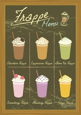 frappe: Vector drawing beverage frappe on blackboard.Menu for coffee or bakery shop. Illustration