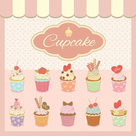 Vector drawing bakery cafe.The cakes show on shop window and decorate with awning.Vintage theme and pastel pink color tone.