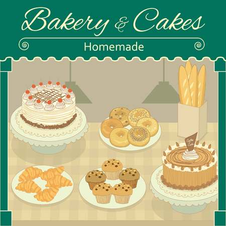 home made: Vector drawing bakerycakes home made cafe.The bakery productscakes display in shop.