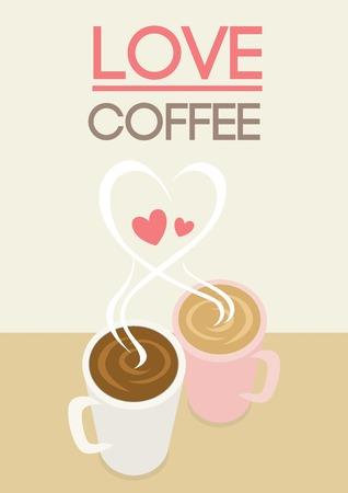 ragazza innamorata: Vector couple coffee mugs put on the table with heart smoke shape and love coffee text.