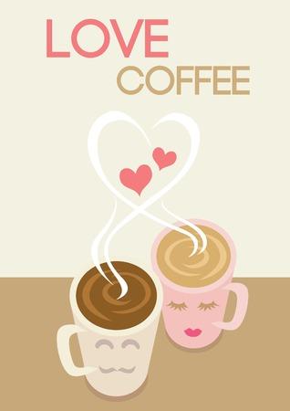 desayuno romantico: Vector tazas de caf� pareja pusieron sobre la mesa con forma de humo coraz�n y el amor de texto caf�.