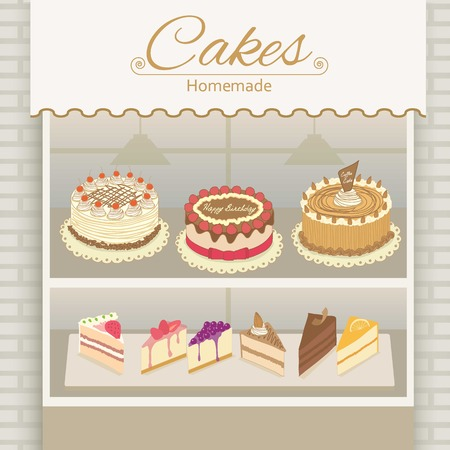 cheesecake: Vector display the cake products on shelf.Bricks and awing are decoration the wall in shop. Illustration