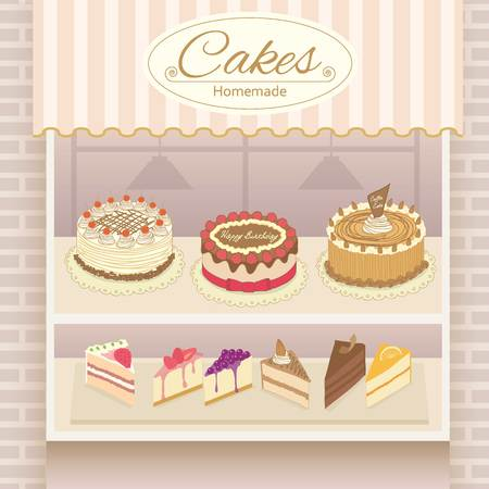 Vector display the cake products on shelf.Bricks and awing are decoration the wall in shop. Illustration