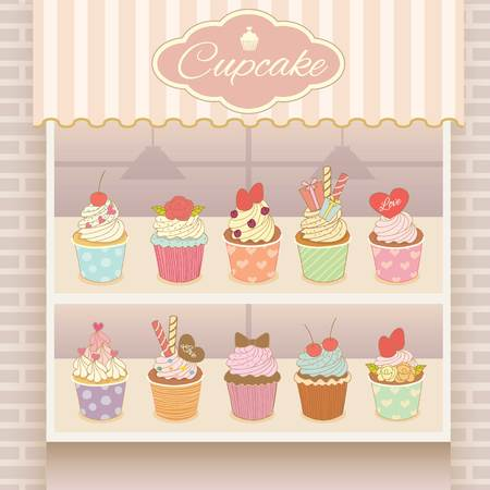 blueberry cheesecake: Vector display the cupcake products on shelf.Bricks and awing are decoration the wall in shop. Illustration