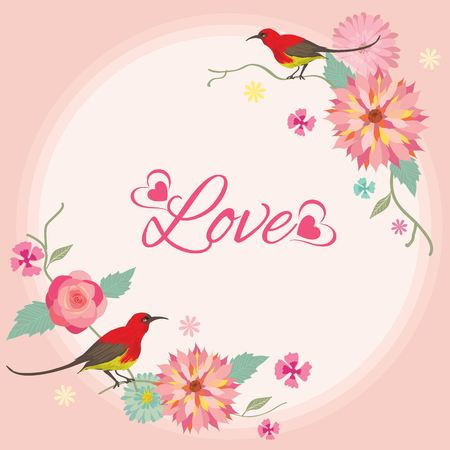 pastel backgrounds: Vector for Lover invitation card.Flower and tow birds decoration around the border frame. Illustration