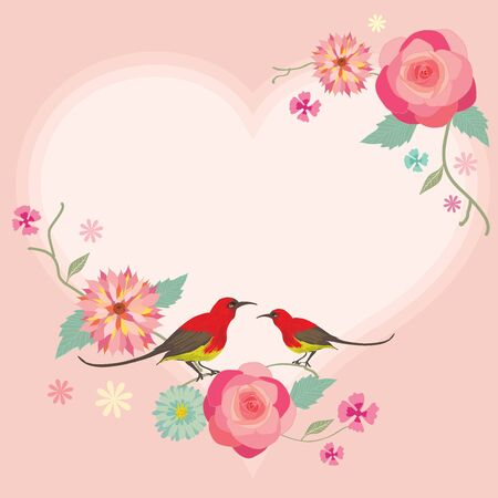 pastels: Vector for Lover invitation card.Flower and tow birds decoration around the border frame. Illustration