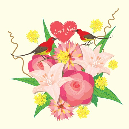 two birds: Lover invitation card.Bouquet of flower and two  birds.