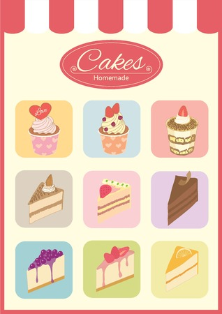 cartoon strawberry: drawing bakery cafe.The cakes show on shop window and decorate with awning.Vintage theme and pastel color tone, isolated Illustration