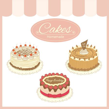 shop show window: drawing bakery cafe.The cakes show on shop window and decorate with awning.Vintage theme and pastel color tone,isolated Illustration