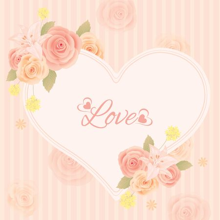 cerebrate: Lover invitation card.Roses and flowers decoration around the border heart frame.