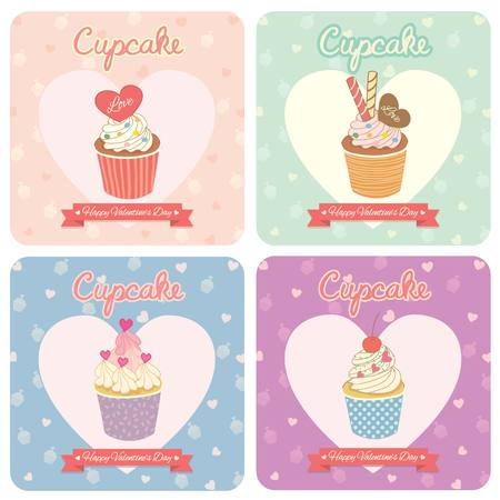 Vector lover cupcake for Valentine's Day.Theme of sweet pink with heart pattern.Bakery cafe shop. 矢量图像