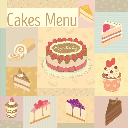 blueberry cheesecake: Vector drawing cakes menu for bakery cafe.Vintage theme and pastel color tone. Illustration