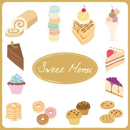 Vector drawing isolated dessert sweet  menu for bakery cafe.