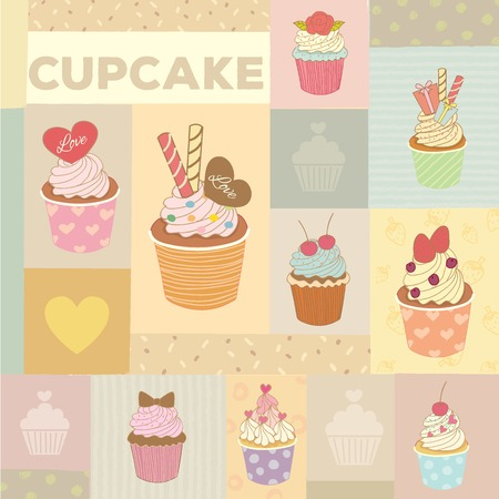 cupcake illustration: Vector drawing cupcakes menu for bakery cafe.Vintage theme and pastel color tone.