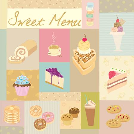 Vector drawing dessert sweet  menu for bakery cafe.Vintage theme and pastel color tone.