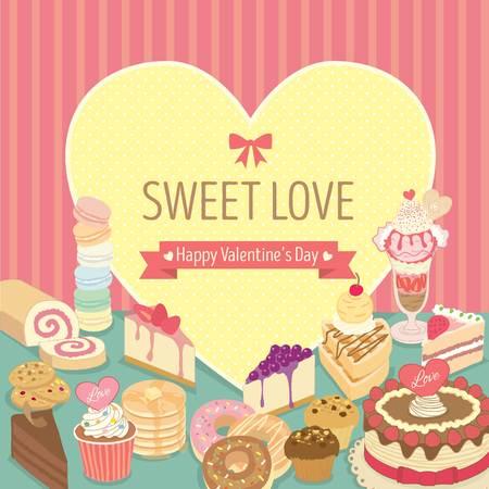 Vector lover dessert for Valentine's Day.Bakery cafe shop.